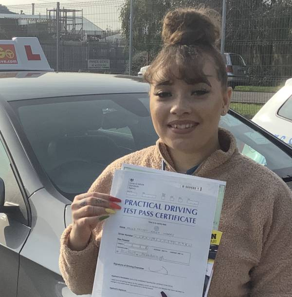 Celest Harris after passing her practical test